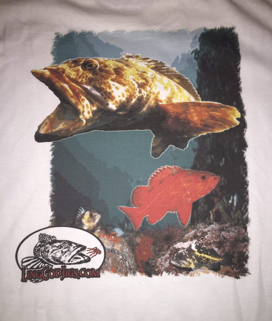 Sweet full color Lingcod t shirt.. Availablr in sizes from Small-XXL