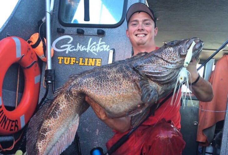 Heres Hunter Keogh from KeyOs guide service with a monster Lingcod on the LingKiller Jig!
